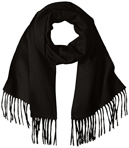 Sofia Cashmere Women's 100 Percent Cashmere Woven Scarf with Fringe, Black, One by Sofia Cashmere