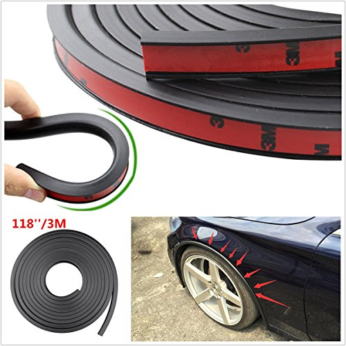 Universal 118'' PVC Car Fender Flares Extension Black Wheel Eyebrow Protector Lip Trim