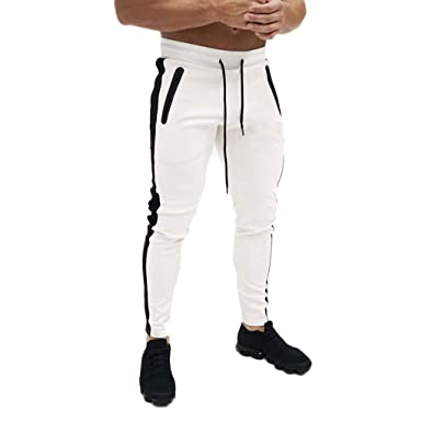 Men's Gym Jogger Pants Slim Fit Workout Running Sweatpants With Zipper Pockets Drawstring Tapered Chino Trousers by Bing Yelh Workout Pants