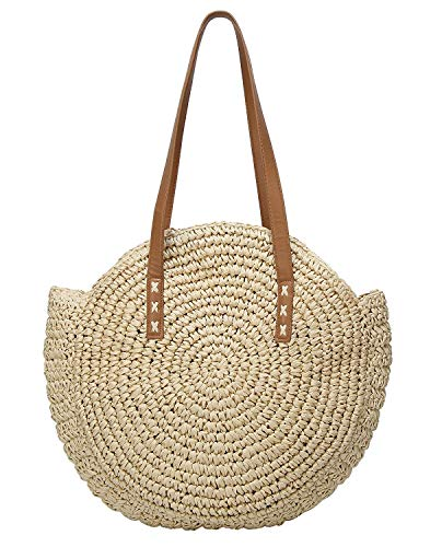 Round Straw Bag Handwoven Natural Summer Beach Shoulder Bag Rattan Crossbody Purse for Women (champagne)