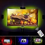 VILSOM USB Powered LED Bias-Beleuchtung für TV-Bildschirm und PC-Monitor, RGB ändern Farbstreifen -Kit (40 '-60' TV Hinterleuchtung 3 Seiten leuchten)