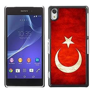 PC/Aluminum Funda Carcasa protectora para Sony Xperia Z2 D6502 D6503 D6543 L50t L50u National Flag Nation Country Turkey / JUSTGO PHONE PROTECTOR