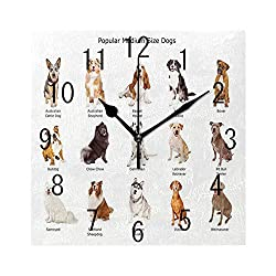 Square Wall Clock Battery Operated Quartz Analog Quiet Desk 8 Inch Clock, A Group of Different Puppy Breeds Family Type Species Dalmatian Husky Bulldog Image Print