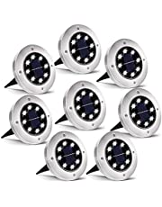 Solar Lights Outdoor Garden, Updated 8 Pack 8 LED Waterproof Disk Lights Solar Ground Lights Solar Pathway Lights Outdoor for Pathway Landscape Walkway Driveway Patio Lawn Yard