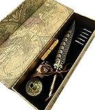 W.D Quill Antique Feather Writting Quill Pen Gold Pen Stem Calligraphy Pen Set | Best (Pheasant)