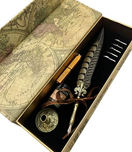 W.D Quill Antique Feather Writting Quill Pen Gold Pen Stem Calligraphy Pen Set | Best (Pheasant) from W.D