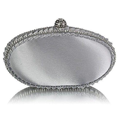 Womens Designer carcasa rígida de embrague, bolsa de noche, satén bolsa de embrague Silver Satin Crystal Clutch Handbag
