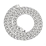 Mens Necklace Chain Hip hop Iced Out Curb Cuban Silver Plated w/Full Clear Rhinestones Necklace 30 inch