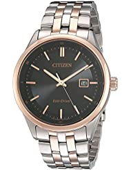 Citizen Mens Eco-Drive Stainless Steel Watch with Date, BM7256-50E