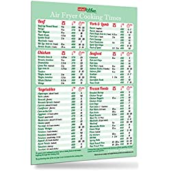 """Must-Have Air Fryer Accessories Green Air Fryer Cooking Times Magnet 8""""x11"""" Cheat Sheet Kitchen Cooking Hot Air Frying Cook Time Chart Recipes CookBook Reference Easy To Read Big Fonts Useful Gift for Dad Son Husband Wife Mom Daughter"""