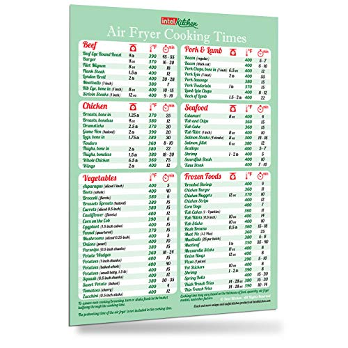 (Must-Have Air Fryer Cookbook Accessories Green Cooking Times Magnet 76 Food Types Big Text Easy To Read Cheat Sheet Kitchen Cooking Hot Air Frying Cook Time Chart 8