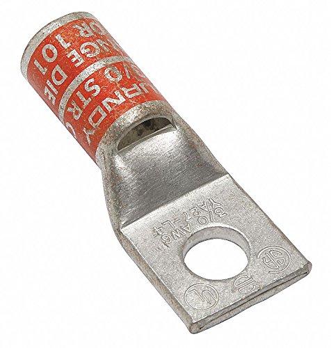 3/0 One-Hole Lug Compression Connector, Straight Barrel, Orange by BURNDY