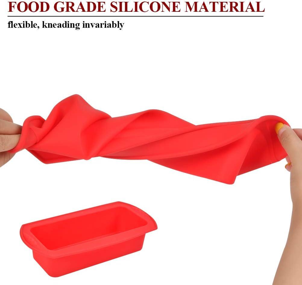TIMESETL 2 Pezzi Stampo Plumcake Silicone Alimentare Antiaderente Stampo Pane in Cassetta per Toast Caramelle Forniture per Fai da Te Torta 26,5x14,5x6cm, Rosso