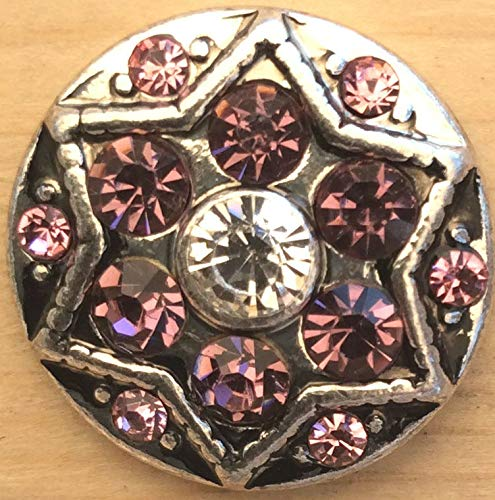 (Snap.Chunk Button Silver Star Pink Sets Charm for Ginger Snap Style Jewelry SE-2172)