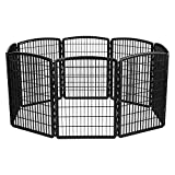 IRIS 34'' Exercise 8-Panel Pet Playpen without Door, Black