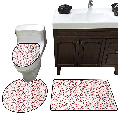 John Taylor Candy Cane Bath Rug Set Piece Illustration of Xmas Themed Figures Traditional Candies and Stars Seasonal Toilet mat Set Vermilion White