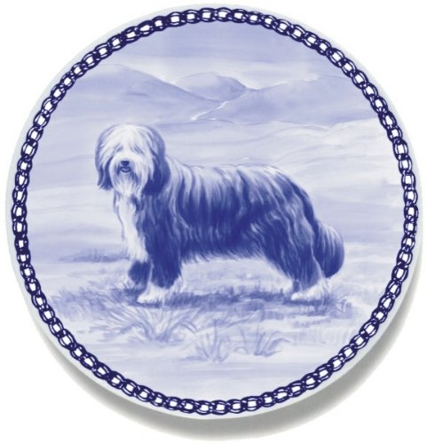 Bearded Collie Lekven Design Dog Plate 19.5 cm  7.61 inches Made in Denmark NEW with certificate of origin PLATE  7475