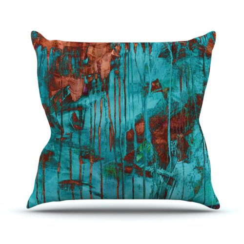 "Kess InHouse Iris Lehnhardt ""Rusty Teal"" Outdoor Throw Pillow, 16 by 16-Inch, Paint Teal from Kess InHouse"
