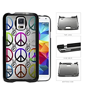 Multicolored Peace Symbols And Fingers Hard Plastic Snap On Cell Phone Case Samsung Galaxy S5 SM-G900