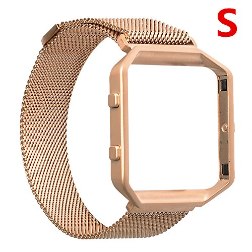 Fitbit Blaze Band,Lwsengme Milanese Loop Watch Band Replacement Stainless Steel Bracelet Strap With Metal Frame for Fitbit Blaze (Blaze-Milanese-Rose-S)