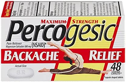 Percogesic Maxmium Strength Backache Relief | Relieves Backache and Muscle ache | 48 Coated Caplets