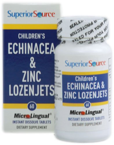 Echinacea 60 Tablets - Superior Source Children's Echinacea and Zinc Lozenjets -- 60 Instant Dissolve Tablets - 3PC