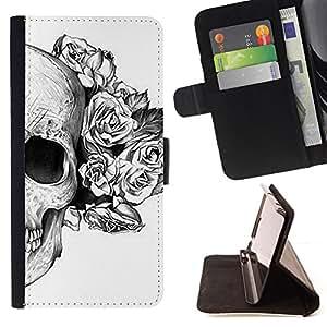 BullDog Case - FOR/Apple Iphone 4 / 4S / - / SKULL ROSES FLORAL DEATH TATTOO METAL /- Monedero de cuero de la PU Llevar cubierta de la caja con el ID Credit Card Slots Flip funda de cuer
