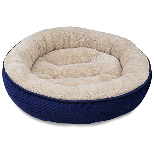"516M29wEe%2BL - MagicCindy Pet Bed for Cats and Small Dogs Round Shape Soft Plush Cuddler Cat Dog Donut Bed Sleeper with Anti Slip Base (Navy Blue, 19.7"" D x 6"" H)"