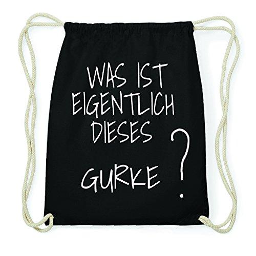 JOllify GURKE Hipster Turnbeutel Tasche Rucksack aus Baumwolle - Farbe: schwarz Design: Was ist eigentlich