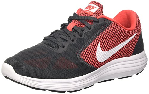 Nike Men Revolution 3 Running Shoes Grey (Anthracite/White-track Red)