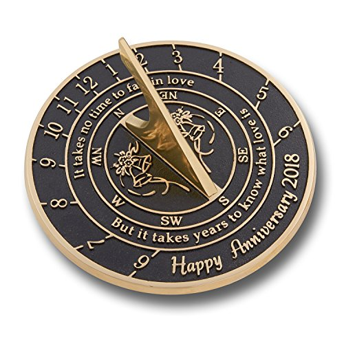 The Metal Foundry #039Love is#039 Wedding Anniversary 2018 Gift This Unique Sundial Gift Idea is A Great Present for Him for Her Or for A Couple to Celebrate Years of Marriage