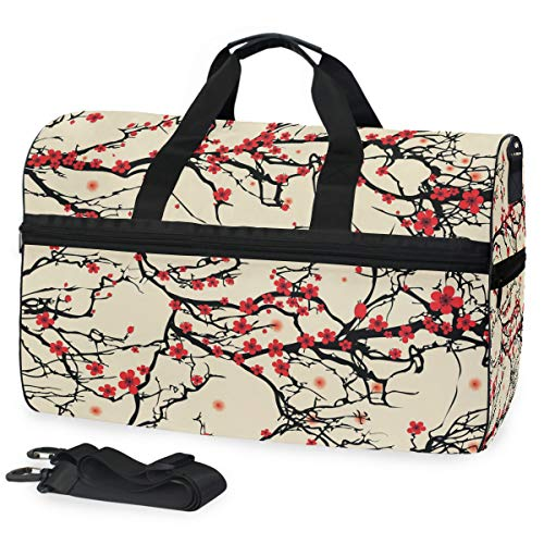 ALAZA Japanese Sakura Cherry Blossom Sports Gym Duffel Bag Travel Luggage Handbag Shoulder Bag with Shoes Compartment for Men Women (Best Japanese Sports Shoes)