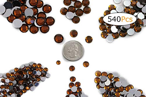(Acrylic Rhinestones Flat Back Brown Smokey Topaz Mixed 6 Sizes 540 Pcs for DIY Arts Crafts Scrapbooking)