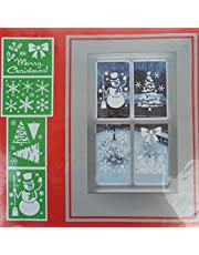 4 Christmas Window Stencil - Xmas Tree Snowman