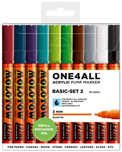 Molotow ONE4ALL Acrylic Paint Marker Set, 10 Basic Colors #2, 2mm (200.451)