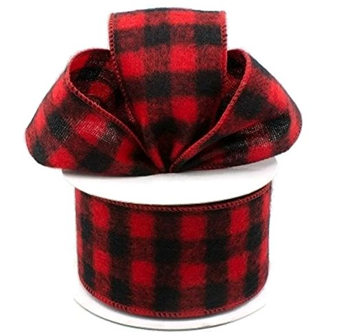 Wired Buffalo Plaid Ribbon, 2.5'' Wide x 10 Yards, Red Black Flannel by Rustic Pearl Collection