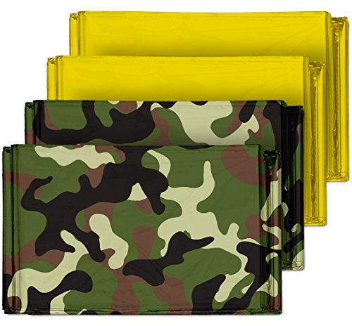Camouflage Emergency Mylar Blankets (4-Pack) – Perfect for Outdoor Camping, Hiking, Survivalist, Shelters, Preppers, Hunting, First Aid Kit (Army Camo (2) and Gold (2)) - Mission Blanket