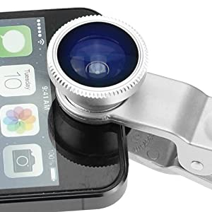 Universal 3 in 1 Camera Lens Kit for Smart phones (including iPhone, Samsung Galaxy, HTC, Motorola and More), Tablets, iPad, and Laptops includes One Fish Eye Lens / One 2 in 1 Macro Lens and Wide Angle Lens / One Universal Clip / One Microfiber Carrying Bag / with Camkix® Retail Packaging (Silver)
