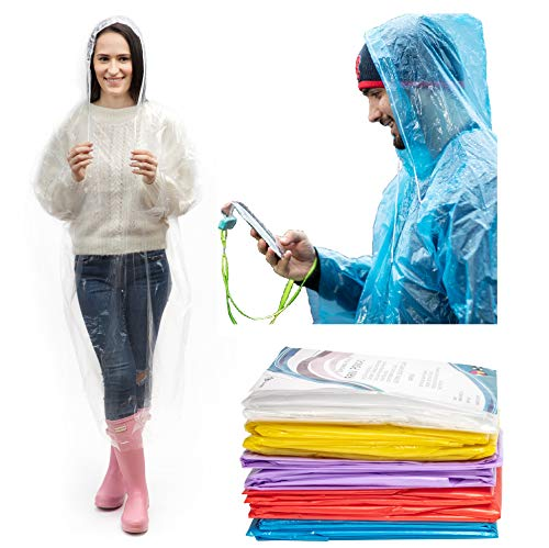 IMPRIE Rain Ponchos for Adults - Rain Gear for Women Waterproof - Disposable Rain Poncho for Theme Parks, Concerts, Camping, Hiking - Emergency Rain Coats for Women (10)
