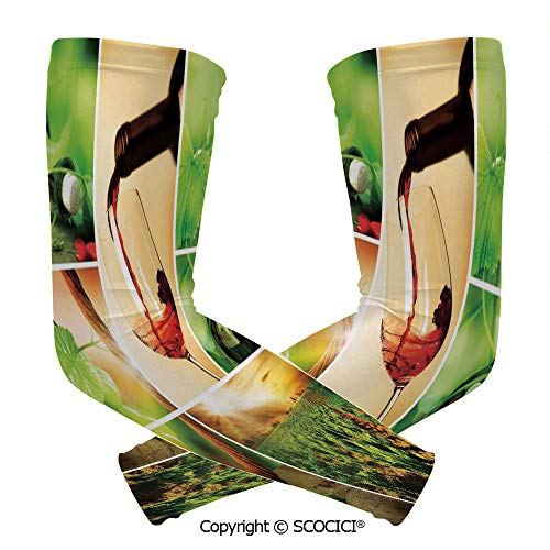 Comfort and Durable Lightweight Arm Guard Sleeve Wine Tasting and Grapevine Collage Green Fresh Field Pouring Drink Delicious Decorative Breathable, Flexible Sleeves Protection
