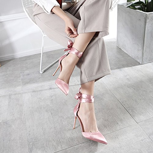 Con Donna Strap 8cm Da 39 Sandali Tacchi Alti Ragazza 10cm Sposa Borse Electronic Pointed Fang Cheng Silk Cavi Size Chi Business Scarpe color Pink ax8RFx7