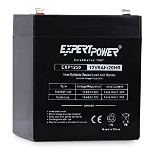 EXP1250 12V 5Ah Home Alarm Battery with F1 Terminals//Chamberlain/LiftMaster/Craftsman 4228 Replacement Battery for Battery Backup Equipped Garage Door Openers