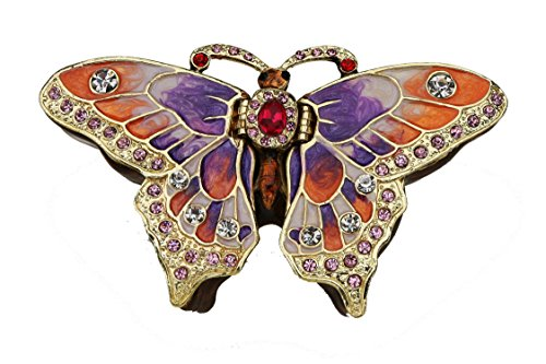 "Sparkling Collectibles Large Vintage style Butterfly Jewelry Box set with Swarovski Crystals, Tattoo 4"", Tribal, Art Deco"