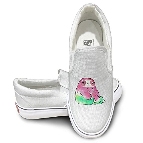 SH-rong Watercolor Waterlemon Sloth Unisex Canvas Sneakers Shoes Size 43 (Boogie Shoes Dance Costumes)