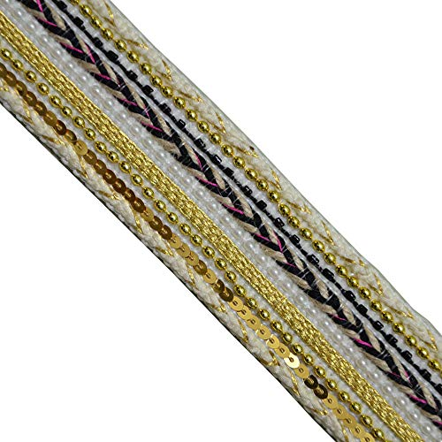 Jacquard Braided Metallic Gold Beaded Sequin, LE3007 Width:1-7/8