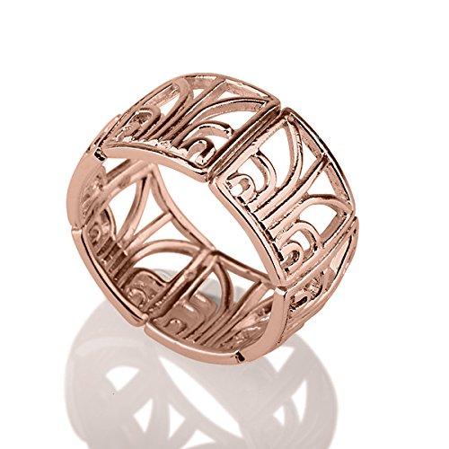 - Mosaic filigree oriental woman 14K Rose Red Gold ring