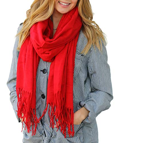 Red Solid Color Fringe Womens Fashion Warm Winter Blanket Scarf Scarves (Striped Red Monkey)