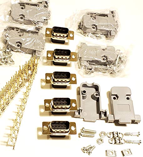 D-sub Connector Housing - Connectors Pro 5 Sets Crimp Type DB9 Male + Plastic Hoods + Pins Set, D-Sub 9P Male Crimp Connector, Pin & Hood Kit (5 DB9 Male + 5 Hoods + 50 Pins)