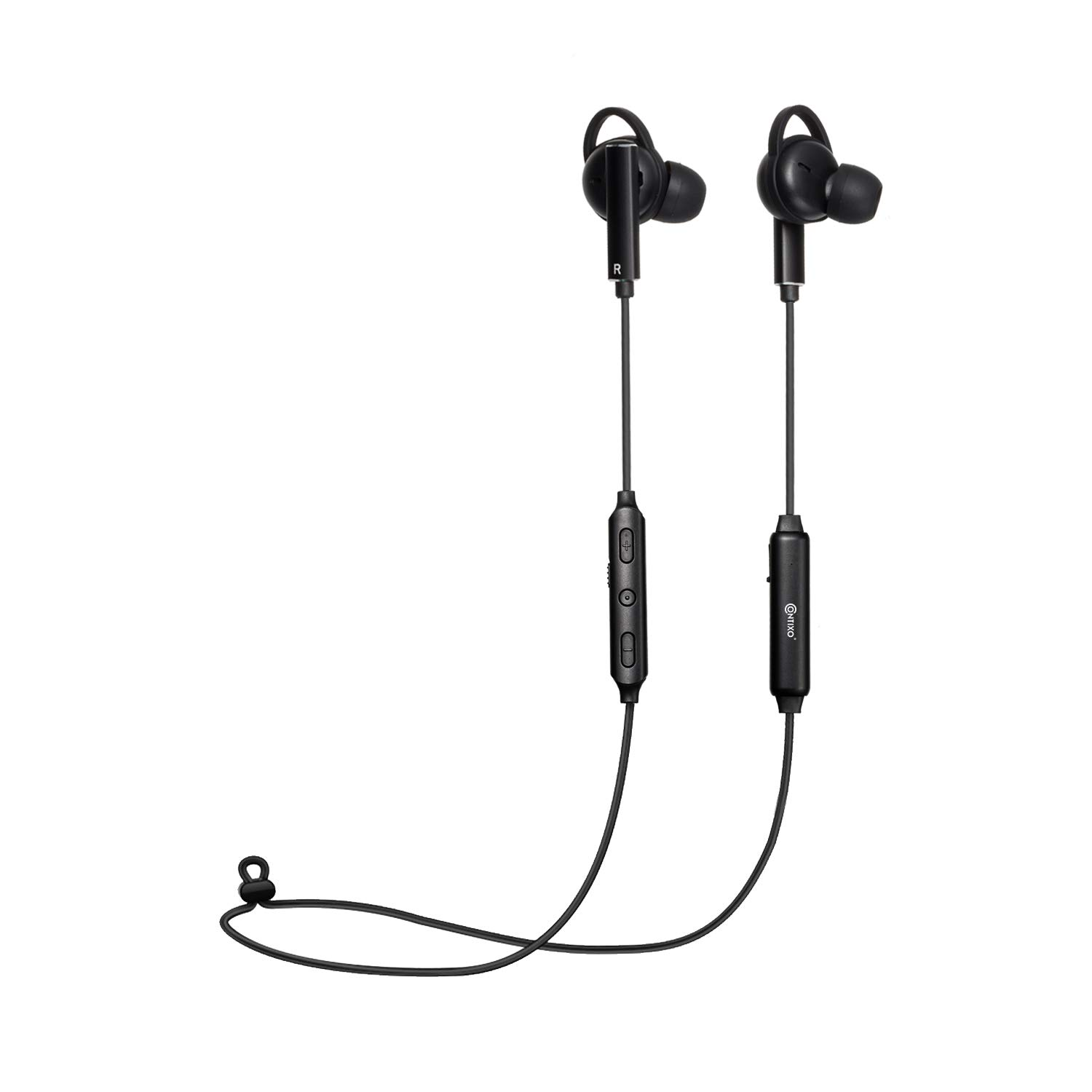Contixo B3 Active Noise Cancelling Headphones Bluetooth Headphones Wireless Headphones Stereo Earbuds with Mic, Bluetooth 4.2 Sports Neckband Headset - Black