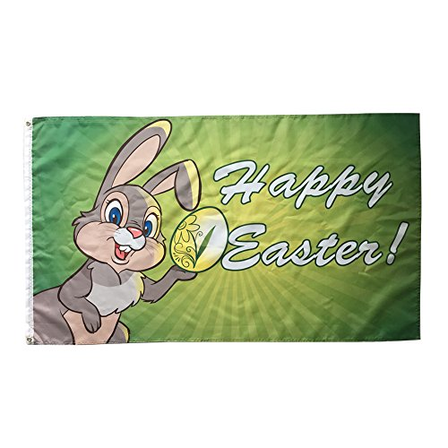 WOWMAR Happy Easter Flag- Bunny and Eggs 3x5 Foot Banner Dec